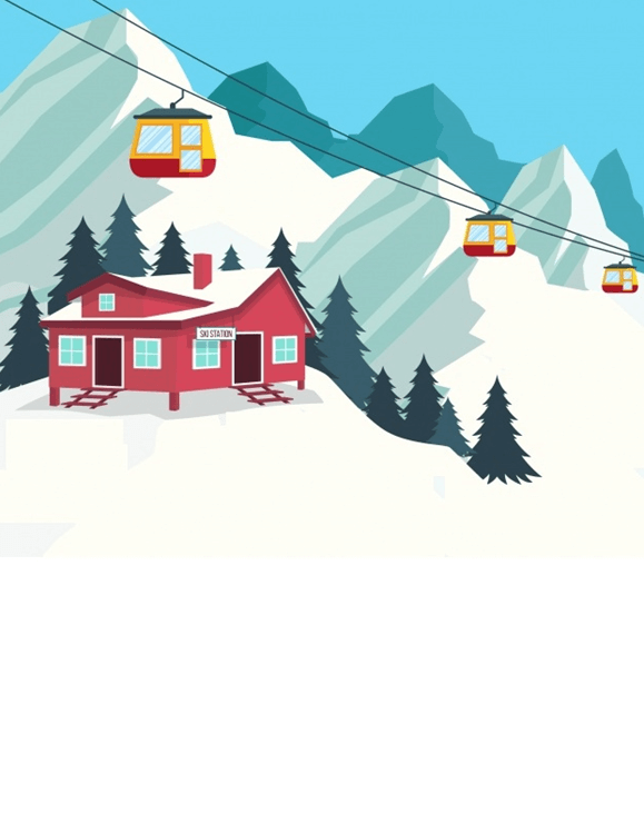 Winter Ski Lodge Stationery