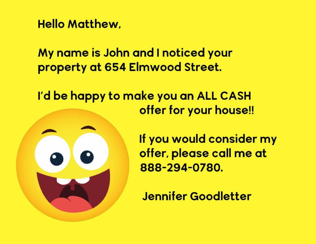 Buy House All Cash Offer Smiley Face Emoji Postcard